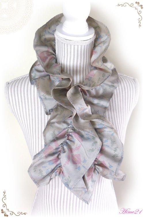 【大島紬】シャーリングフリルショール(薄グレージュ)◆着物リメイク*絹シルク*マフラーや付け襟としても・・・sho-155