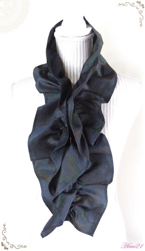 【大島紬】シャーリングフリルショール(黒紺色/雲模様)◆着物リメイク*絹シルク*マフラーや付け襟としても・・・sho-157