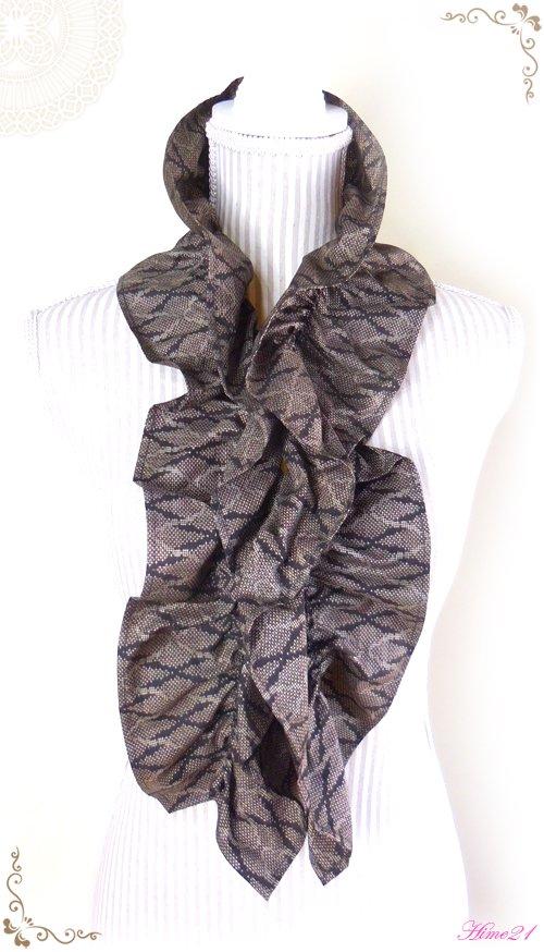 【大島紬】シャーリングフリルショール(茶色泥染め/5マルキ)◆着物リメイク*絹シルク*マフラーや付け襟としても・・・sho-160