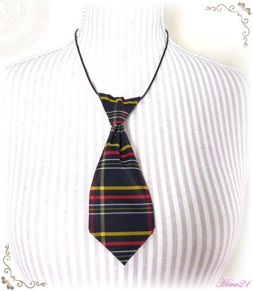 【大島紬】ミニネクタイのチョーカーネックレス(黒に格子柄/チェック柄)◆着物リメイク*絹シルク nec-001
