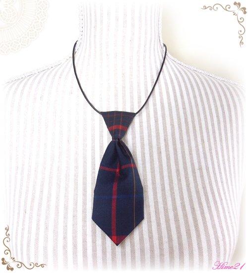 【大島紬】ミニネクタイのチョーカーネックレス(青に格子柄/チェック柄)◆着物リメイク*絹シルク nec-002