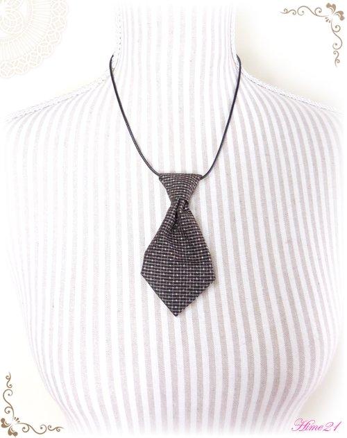【大島紬】ミニネクタイのチョーカーネックレス(茶色/泥大島)◆着物リメイク*絹シルク nec-003