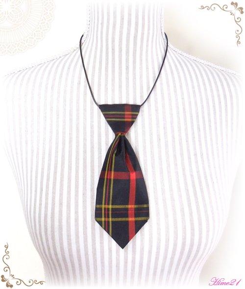 【大島紬】ミニネクタイのチョーカーネックレス(黒地に格子柄/チェック柄)◆着物リメイク*絹シルク nec-004