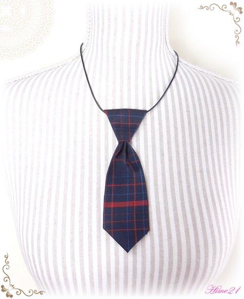 【大島紬】ミニネクタイのチョーカーネックレス(青に格子柄/チェック柄)◆着物リメイク*絹シルク nec-005
