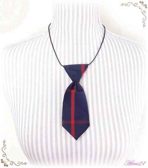 【大島紬】ミニネクタイのチョーカーネックレス(青に格子柄/チェック柄)◆着物リメイク*絹シルク nec-006