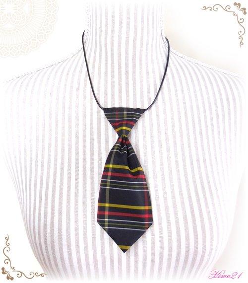 【大島紬】ミニネクタイのチョーカーネックレス(黒に格子柄/チェック柄)◆着物リメイク*絹シルク nec-007