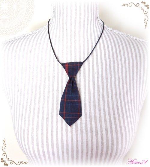 【大島紬】ミニネクタイのチョーカーネックレス(青に格子柄/チェック柄)◆着物リメイク*絹シルク nec-008