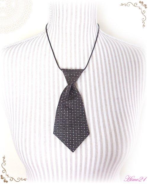 【大島紬】ミニネクタイのチョーカーネックレス(茶色/泥染め)◆着物リメイク*絹シルク nec-010