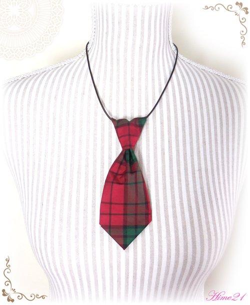 【大島紬】ミニネクタイのチョーカーネックレス(赤・格子柄/チェック柄)◆着物リメイク*絹シルク nec-011